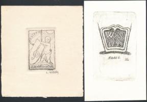 Karel Votlučka (1896-1963): 2 ex libris Rézkarc, papír, jelzett , 5,5×4-9×6 cm