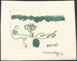 Mart Lepp (1947-): Ex Libris Bruno ex libris. Rézkarc, papír, jelzett / Etched bookplate, 10x80 cm
