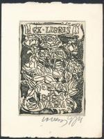 Evald Okas (): Ex libris Erna ja Boris Varm. Rézkarc, papír, jelzett, 9×6.5 cm