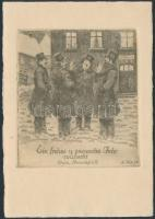 Bär, Arthur (1884 - 1972) Ex libris Dorschfeld. Karácsony. Rézkarc, papír, jelzett / Etched bookplate, Christmas 10x12 cm