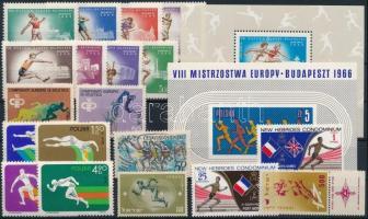 Sport 19 stamps + 2 blocks, Sport motívum 19 db bélyeg és 2 blokk