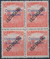 Arad 1919 Arató/Köztársaság 10f négyestömb garancia nélkül (80.000)