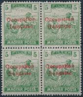 Arad 1919 Magyar Posta 5f négyestömb garancia nélkül (60.000) (sarokhiba / missing corner)