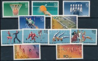 FRG + Berlin 1981-1985 Sport 11 diff stamps with sets, NSZK + Berlin 1981-1985 Sport motívum 11 klf bélyeg, közte sorok