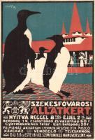 Budapest Székesfővárosi Állatkert, reklám / Budapest zoo advertisement, art postcard, 1916 IV. Károly király koronázása napján So. Stpl. s: Voit Ervin (kis szakadás / small tear)