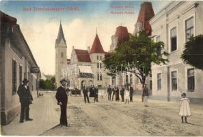 Trencsénteplic-fürdő, Trencianske Teplice; Kossuth utca, étterem / street, restuarant (EK)