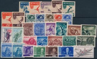 1935-1961  Sport motívum 32 klf bélyeg, közte sorok, vágott értékek, 1935-1961  Sport 32 diff stamps with sets