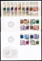 2001 100 éves a Nobel-békedíj sor Mi 1401-1408 + blokk 22 3 db FDC-n
