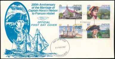 1987 Lord Nelson és Frances Nisbet 200. házassági évfordulója sor Mi 462-465 FDC-n