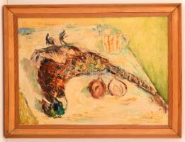 Olvashatatlan jelzéssel: Asztali csendélet fácánnal. Olaj, vászon, keretben, 50×70 cm