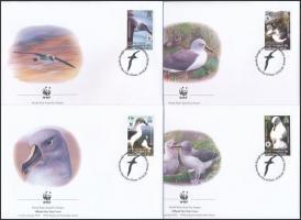 WWF: Szürkefejű albatrosz sor 4 FDC-n WWF: Grey-headed albatross set on 4 FDC