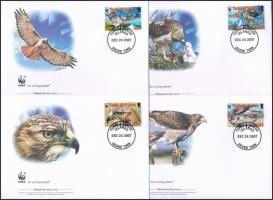 WWF: Rőtfarkú ölyv sor 4 db FDC-n WWF: red-tailed hawk set on 4 FDC
