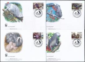 WWF: African Grey Parrot set on 4 FDC, WWF: Jákó papagáj sor 4 db FDC-n