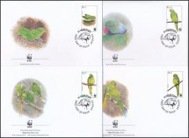 WWF: Nagy Sándor papagáj sor + 4 db FDC-n WWF: Parrot of Alexander the Great set + 4 FDC