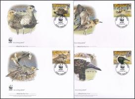 WWF: Ázsiai pettyeslile sor 4 db FDC-n WWF: Pacific Golden Plover set on 4 FDC
