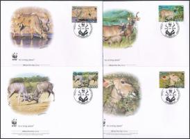 WWF: Greater kudu set on 4 FDC, WWF: Nagy Kudu sor 4 db FDC-n