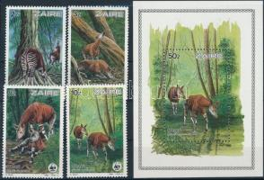 1984 WWF: Okapi sor Mi 875-878 + blokk Mi 50