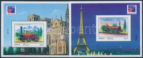1999 Nemzetközi Bélyegkiállítás PHILEXFRANCE 99, Párizs: Mozdonyok blokksor Mi 438-439