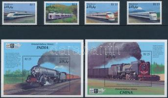 2000 Nemzetközi Bélyegkiállítás, London: Vasutak Japánban, Kínában és Indiában sor Mi 3444-3447 + blokksor 450-451