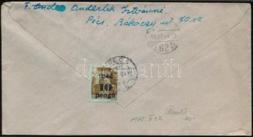 Inflation cover, (3. díjszabás) Cenzúrázott távolsági levél Kisegítő 10P/80f bérmentesítéssel