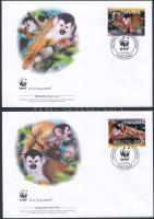 WWF: Majmok sor 4 db FDC-n WWF: Monkeys set on 4 FDC