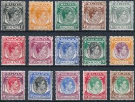Malakka Definitive 15 diff stamps Malakka Forgalmi 15 klf érték