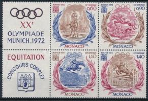 1972 Nyári Olimpia, München bal oldali szelvényes 4-es tömb Mi 1045-1048