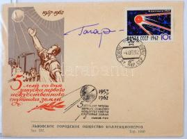 Jurij Alekszejevics Gagarin (1934-1968) szovjet űrhajós aláírása emlékborítékon /  Signature of Yuriy Alekszeyevich Gagarin (1934-1968) Soviet astronaut on envelope