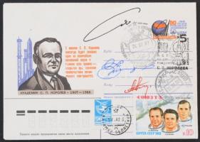 Alekszandr Viktorenko (1947- ) orosz, Alekszandr Alekszandrov (1951- ) bolgár és Muhammad Faris (1951- ) szír űrhajósok aláírásai emlékborítékon /  Signatures of Aleksandr Viktorenko (1947- ) Russian, Aleksandr Aleksandrov (1951- ) Bulgarian and Muhammad Faris (1951- ) Syrian astronauts on memorial envelope