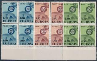 1967 Európa CEPT sor ívszéli 4-es tömbökben Mi 1026-1028 (Mi EUR 100,-)