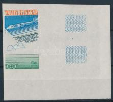 Plane corner imperf stamp Repülő ívsarki vágott bélyeg