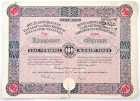 Budapest 1929. Részvénytársaság Villamos és Közlekedési Vállalatok Számára 10 részvénye egyenként 100P-ről, szelvényekkel, bélyegzéssel és szárazpecséttel T:III,III- szakadás