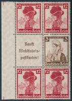 1935 Nothilfe ívszéli hatos bélyegfüzet összefüggés Mi S236, S242