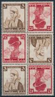 1935 Nothilfe 3 db fordított párt tartalmazó bélyegfüzet összefüggés Mi K26
