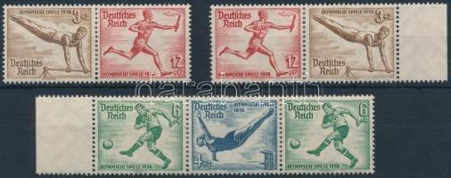 1936 Nyári olimpia 3 klf bélyegfüzet összefüggés Mi W106, W107, W109