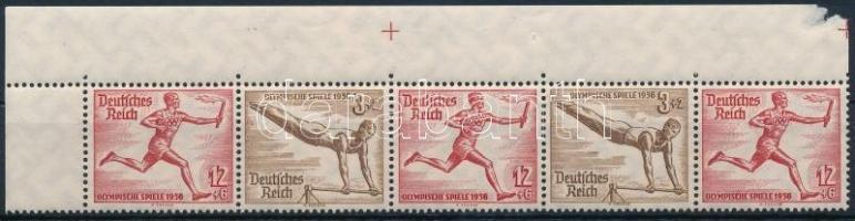 1936 Nyári olimpia ívsarki ötöscsík bélyegfüzet összefüggés Mi W110+W107