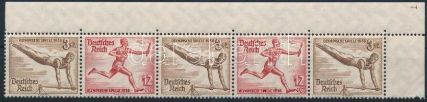 1936 Nyári olimpia ívsarki ötöscsík bélyegfüzet összefüggés Mi W108+W109