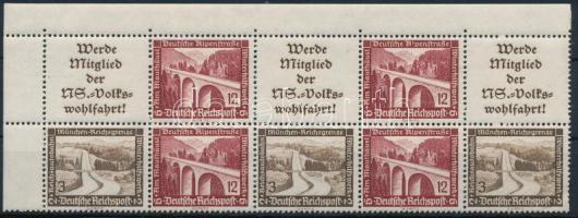 1936 Téli segély ívsarki 10-es bélyegfüzet összefüggés Mi W112-113, W116-117