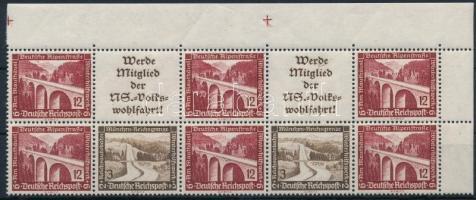 1936 Téli segély ívsarki 10-es bélyegfüzet összefüggés Mi W113-114, W117-118