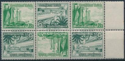 1937 Téli segély 3 fordított párt tartalmazó ívszéli bélyegfüzet összefüggés Mi SK32