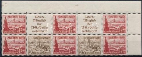 1937 Téli segély 10-es ívsarki bélyegfüzet összefüggés Mi W129-130, W133-134