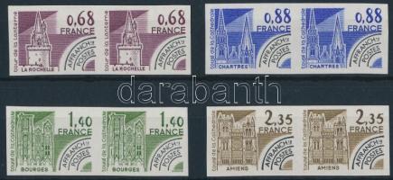 Historic buildings pre-canceled stamps imperf set in pairs, Történelmi épületek előérvénytelenített vágott sor párokban