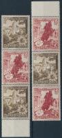 1938 Téli segély 2 klf ívszéli hármascsík bélyegfüzet összefüggés Mi S250, S252