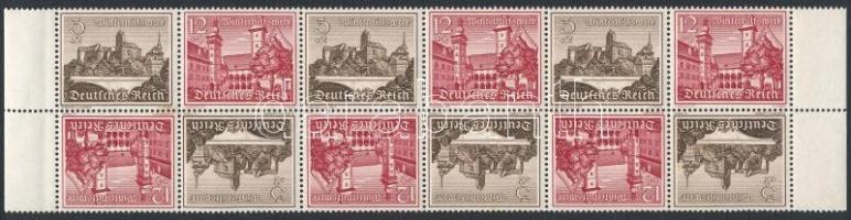 1939 Téli segély 6 fordított párt tartalmazó bélyegfüzetlap ívdarab Mi SK36