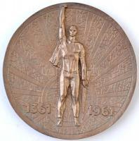 1961. Debrecen 600 éve város / 1361-1961 Br plakett (14,2cm) T:2 kis patina