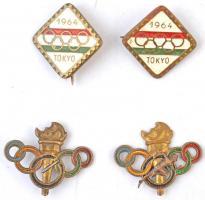 1964. Tokyo 1964 fém olimpiai jelvény (2x) + DN Olimpiai jelvény (2x) T:2 két db sérült