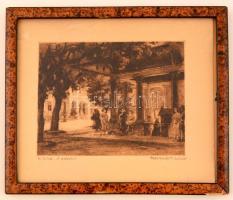 Baranszky Emil László (1877-1941): B. Füred, A gyógykút, rézkarc, papír, jelzett, keretezett, 20x24cm
