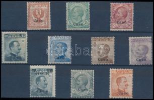 1912 Forgalmi 10 érték Caso felülnyomással Mi 3-10, 12-13 II