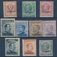 1912 Forgalmi 10 érték Stampalia felülnyomással Mi 3-12 XIII