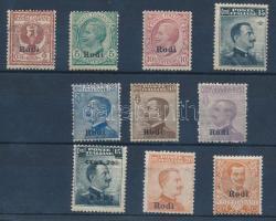1912 Forgalmi 9 érték Rodi felülnyomással Mi 3-11, 13 X